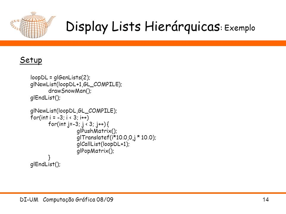 Display Lists Hierárquicas: Exemplo