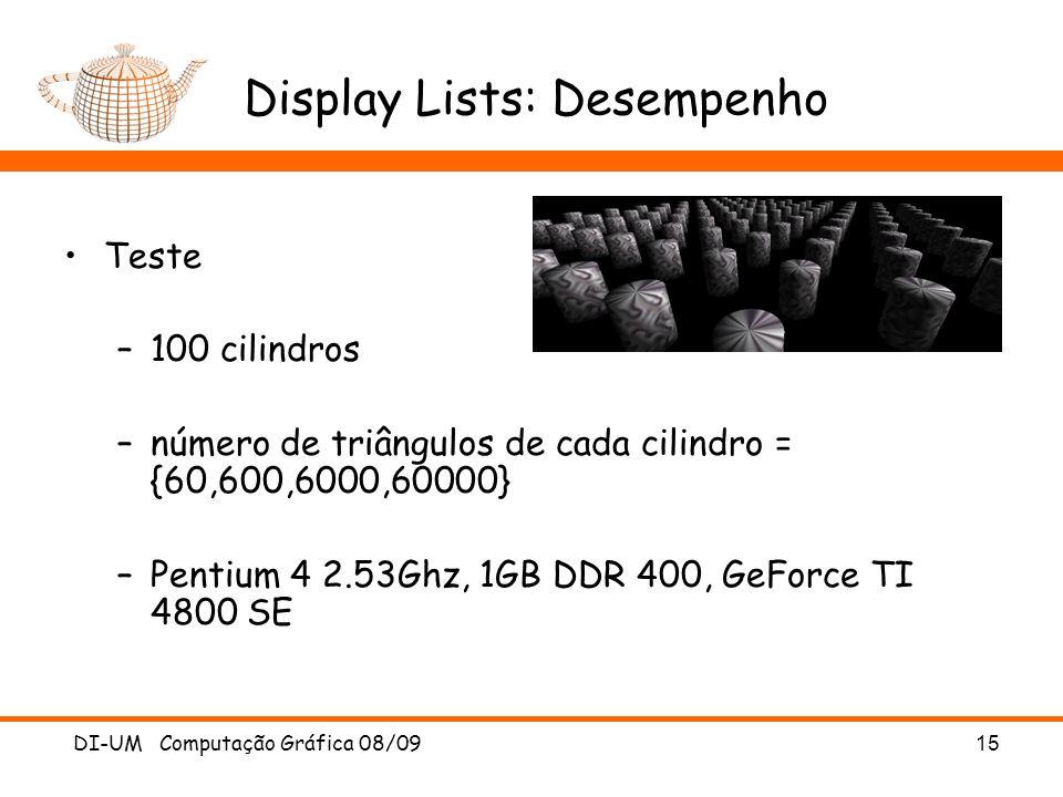 Display Lists: Desempenho