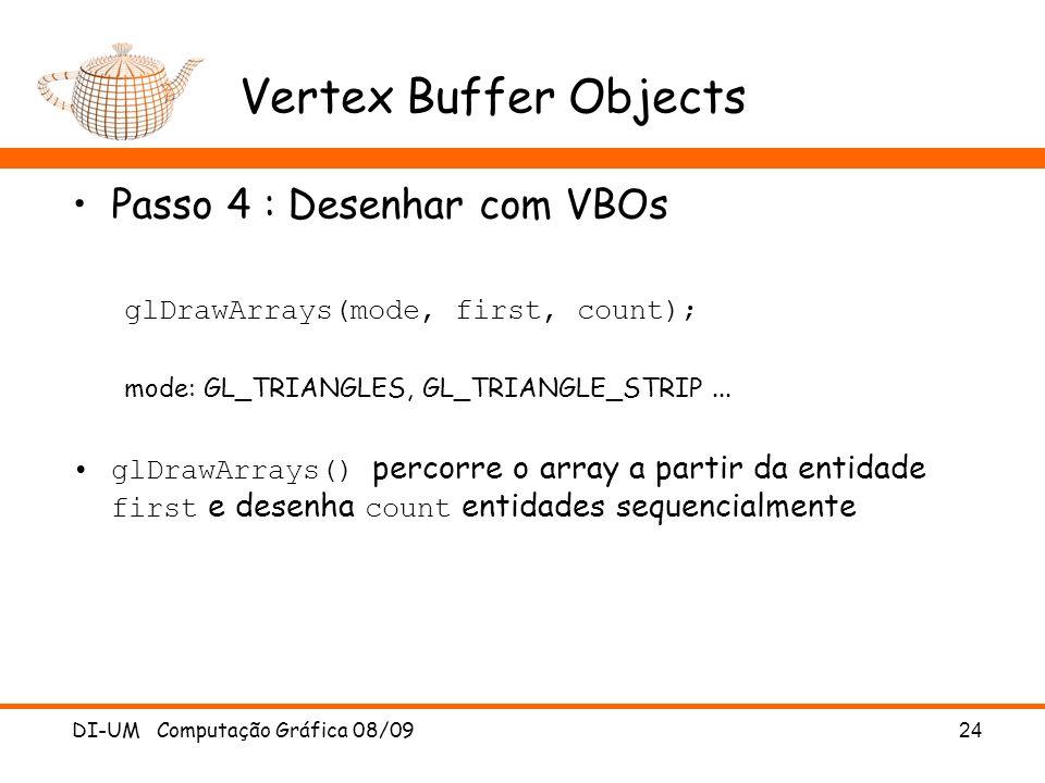 Vertex Buffer Objects Passo 4 : Desenhar com VBOs