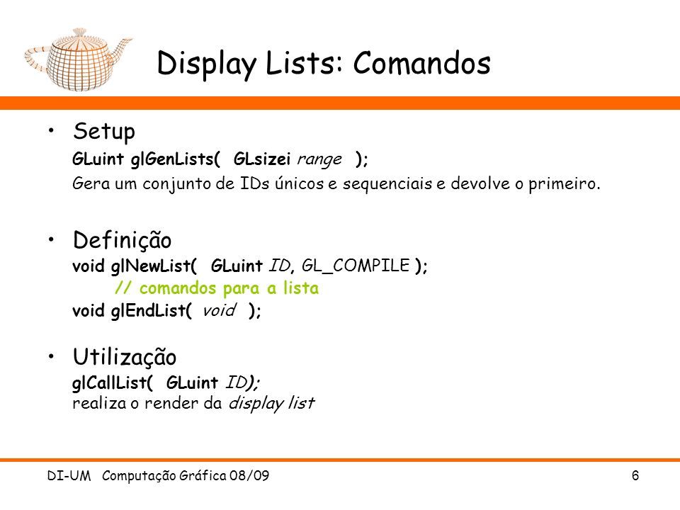 Display Lists: Comandos