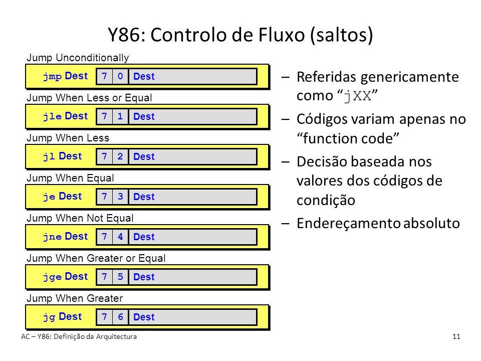 Y86: Controlo de Fluxo (saltos)