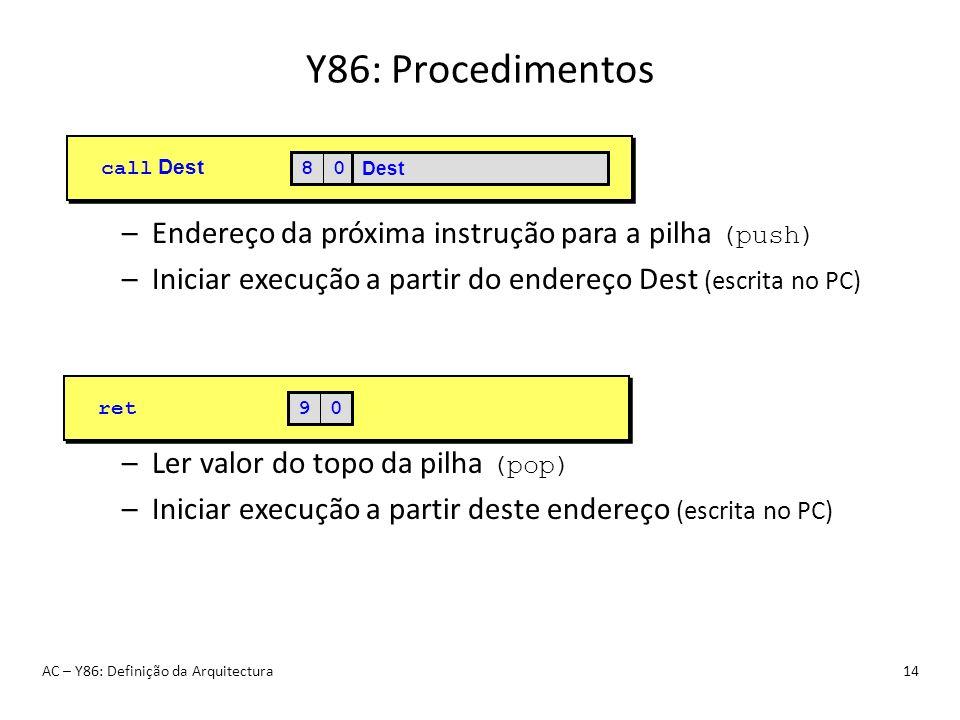 Y86: Procedimentos Endereço da próxima instrução para a pilha (push)