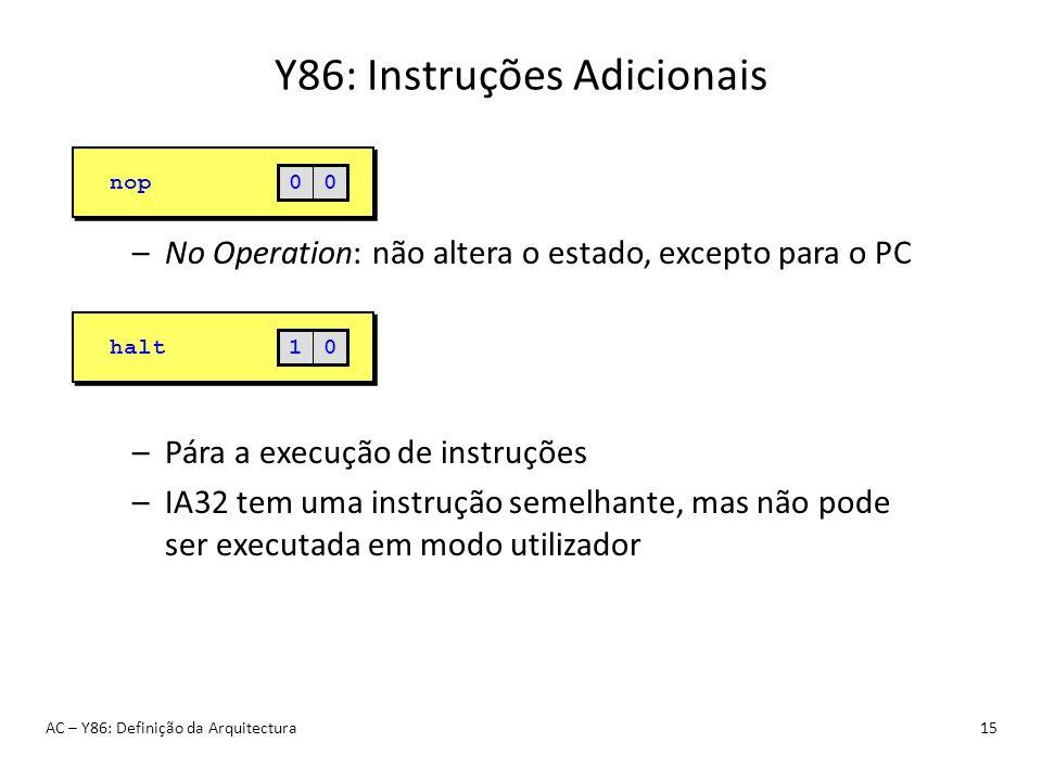Y86: Instruções Adicionais