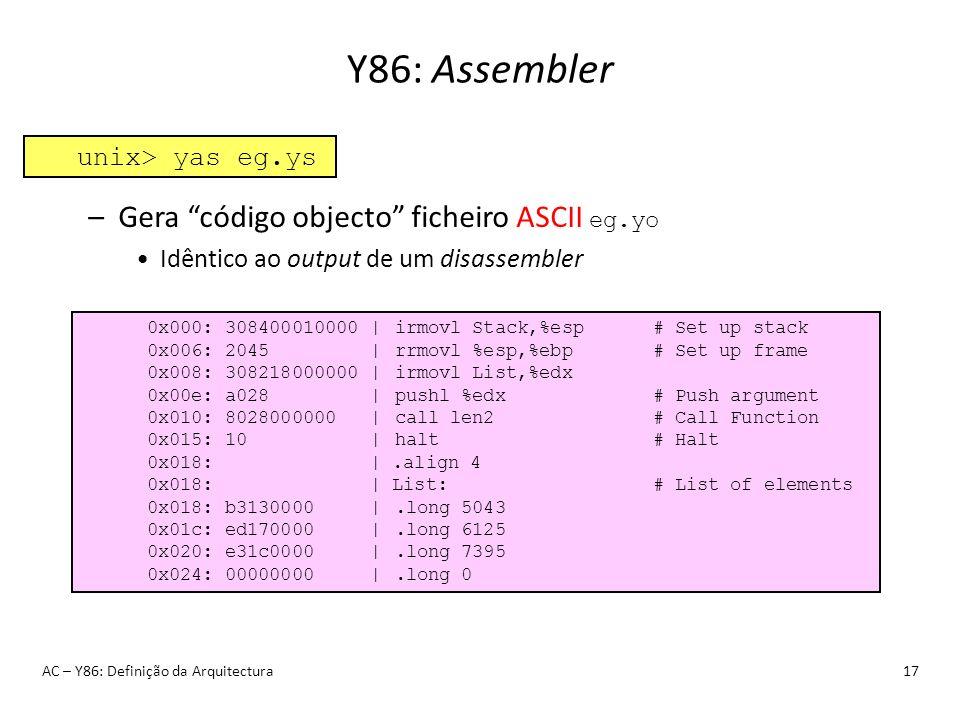 Y86: Assembler Gera código objecto ficheiro ASCII eg.yo