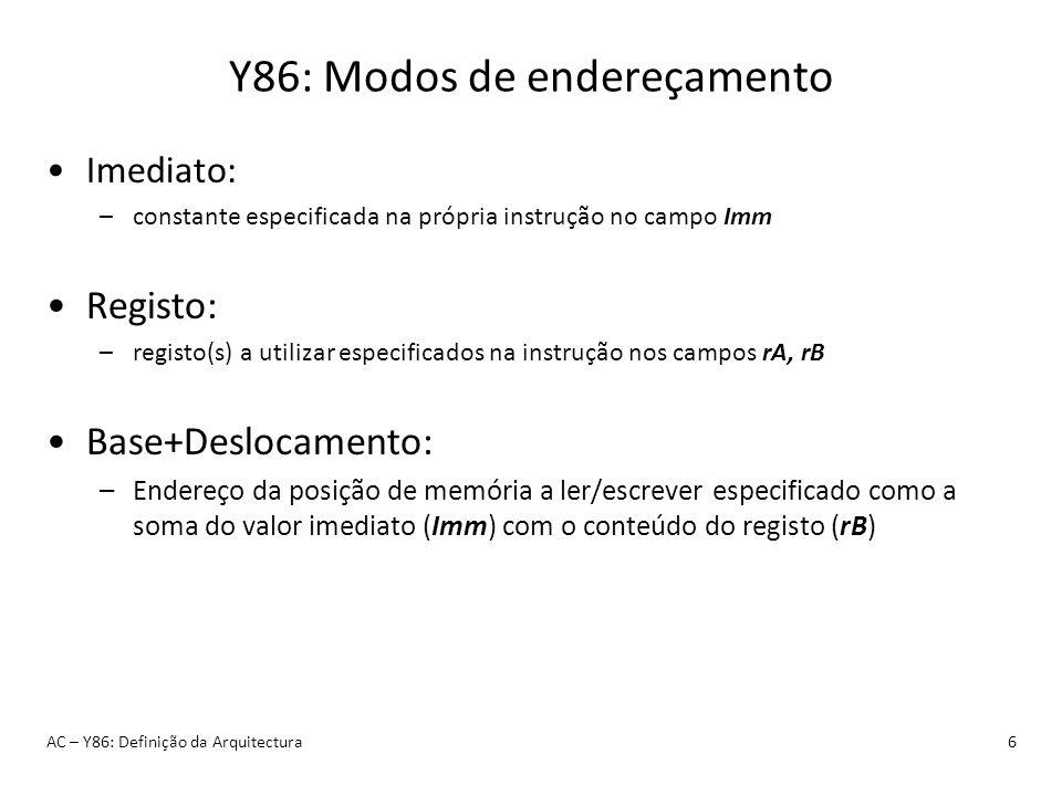 Y86: Modos de endereçamento