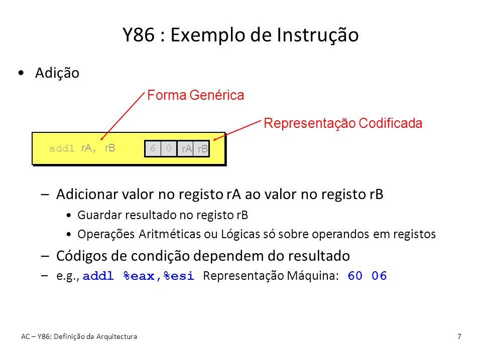 Y86 : Exemplo de Instrução