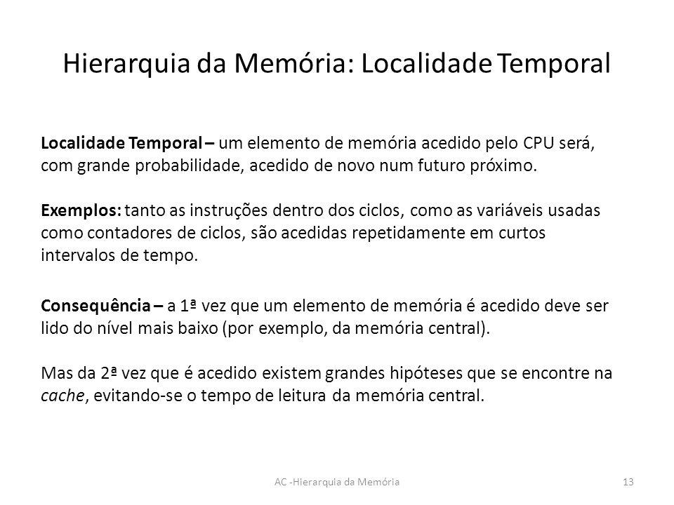 Hierarquia da Memória: Localidade Temporal