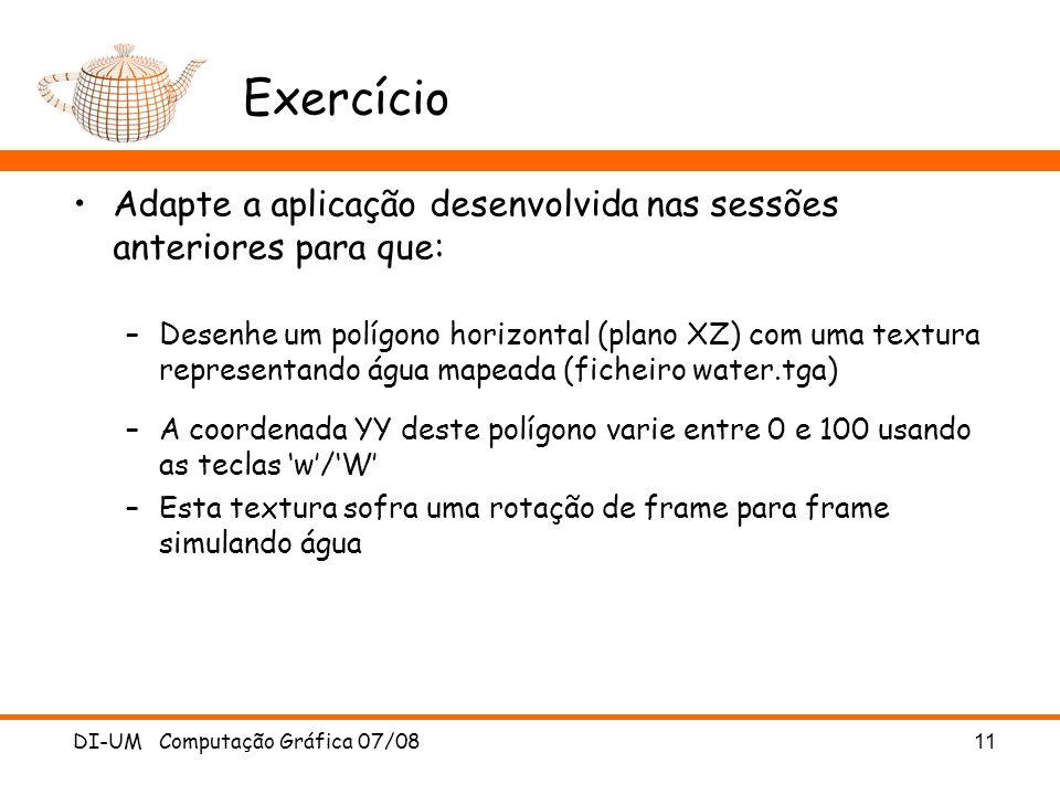 Exercício Adapte a aplicação desenvolvida nas sessões anteriores para que: