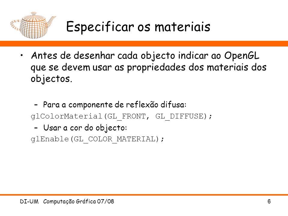 Especificar os materiais