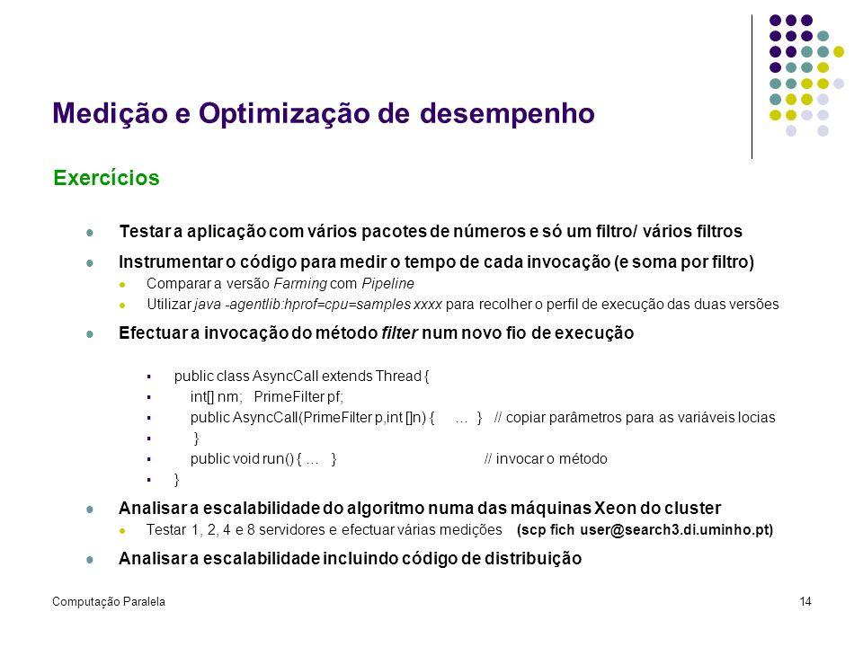 Medição e Optimização de desempenho