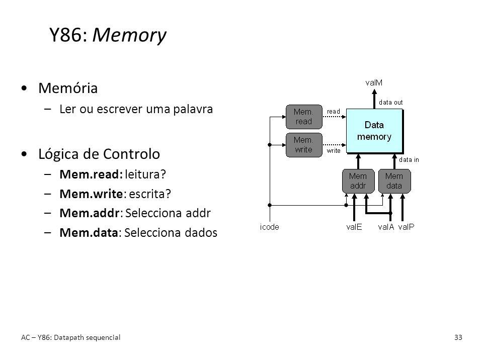 Y86: Memory Memória Lógica de Controlo Ler ou escrever uma palavra