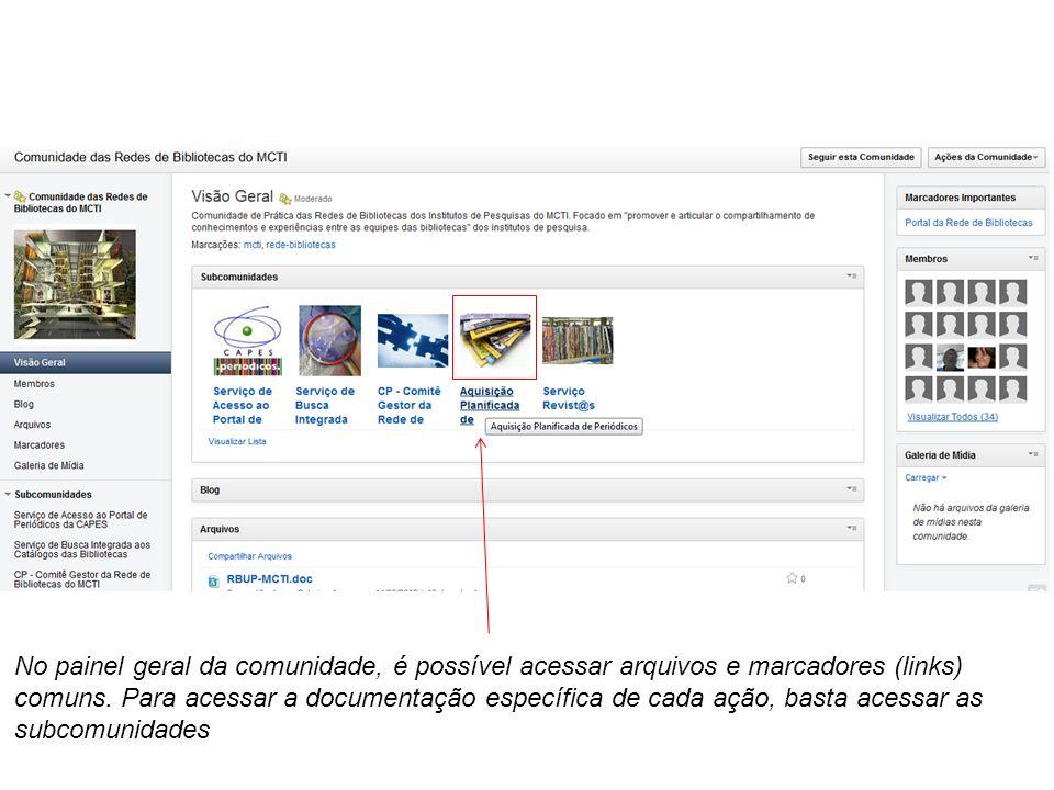 No painel geral da comunidade, é possível acessar arquivos e marcadores (links)