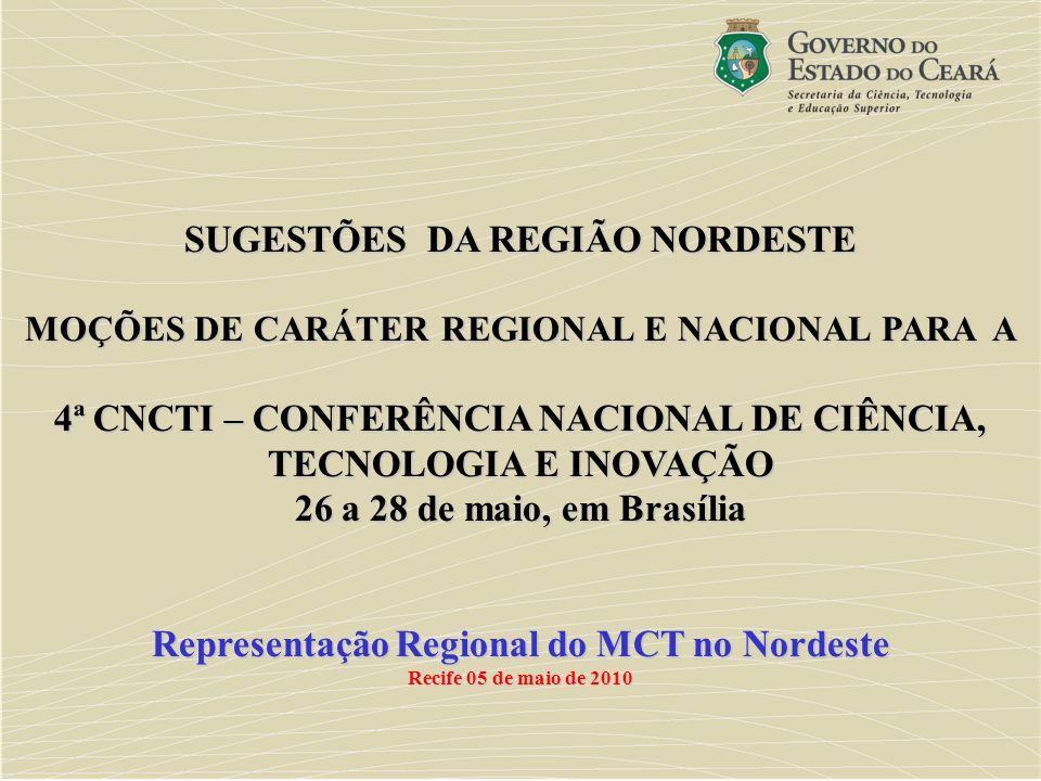 SUGESTÕES DA REGIÃO NORDESTE