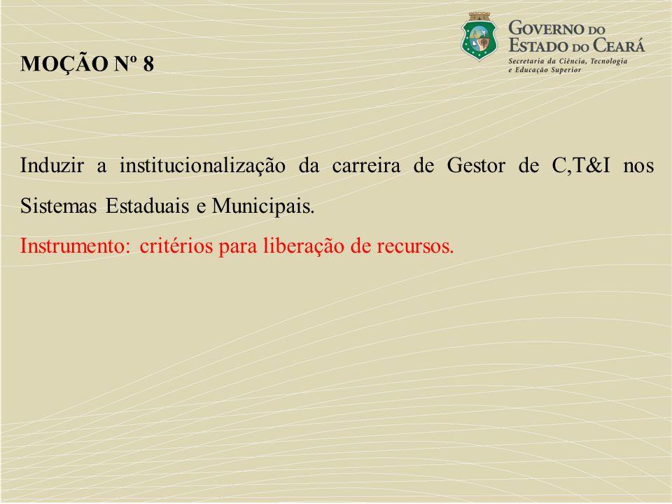 MOÇÃO Nº 8Induzir a institucionalização da carreira de Gestor de C,T&I nos Sistemas Estaduais e Municipais.