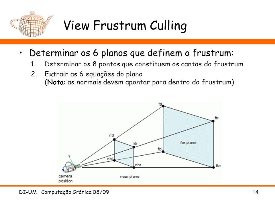 View Frustrum Culling Determinar os 6 planos que definem o frustrum: