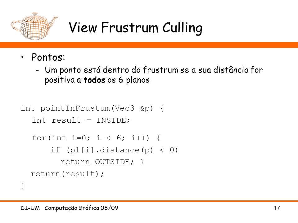 View Frustrum Culling Pontos: