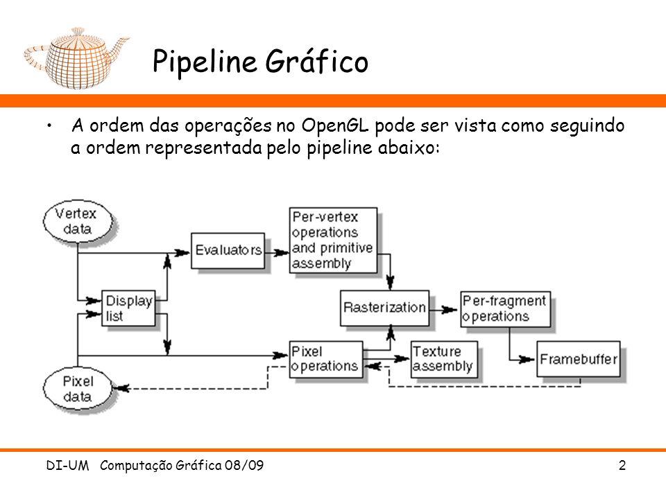 Pipeline Gráfico A ordem das operações no OpenGL pode ser vista como seguindo a ordem representada pelo pipeline abaixo: