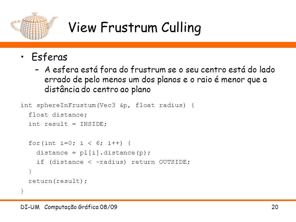 View Frustrum Culling Esferas