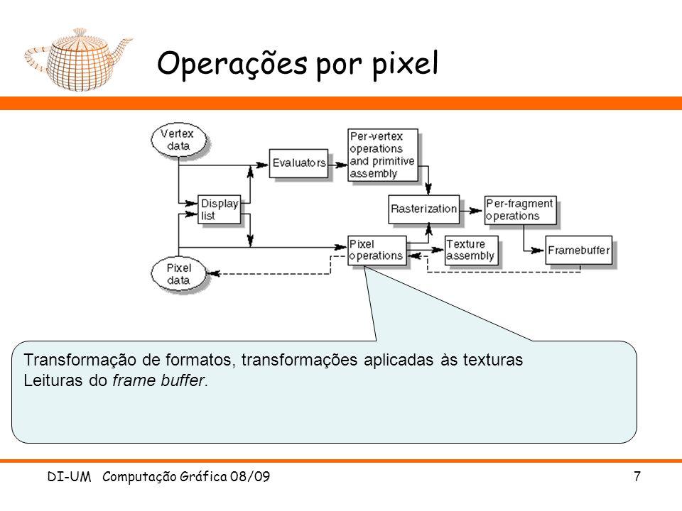 Operações por pixel Transformação de formatos, transformações aplicadas às texturas Leituras do frame buffer.