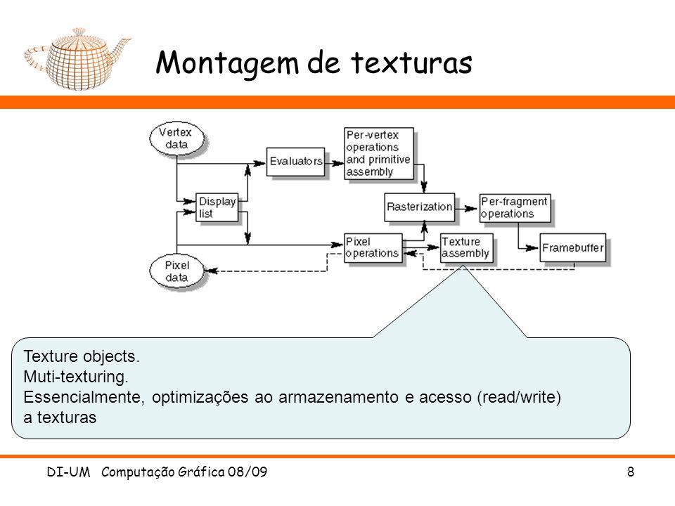 Montagem de texturas Texture objects. Muti-texturing. Essencialmente, optimizações ao armazenamento e acesso (read/write) a texturas.