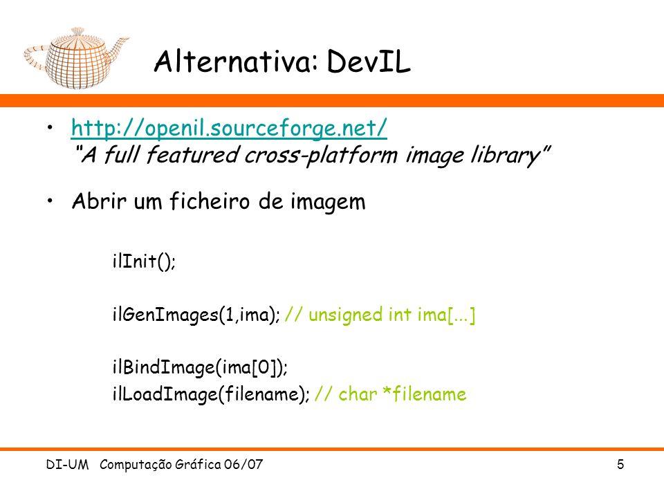 Alternativa: DevIL http://openil.sourceforge.net/ A full featured cross-platform image library Abrir um ficheiro de imagem.