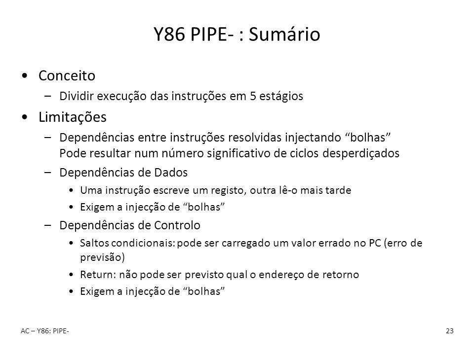 Y86 PIPE- : Sumário Conceito Limitações