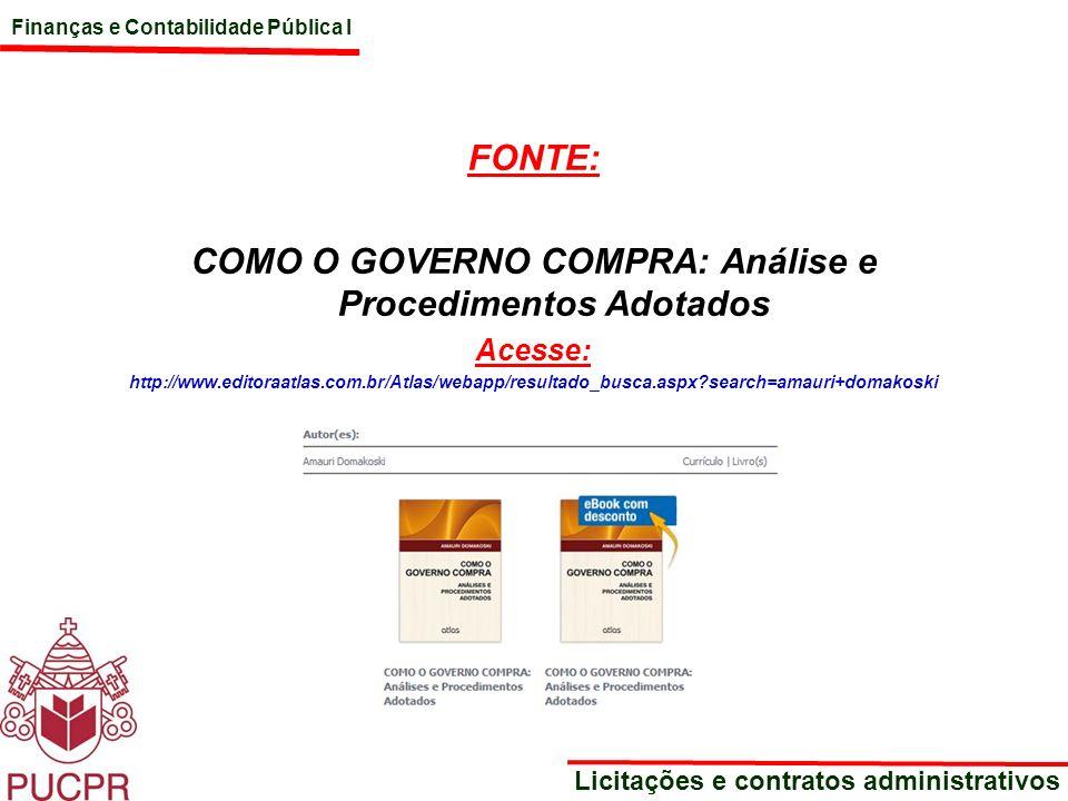 COMO O GOVERNO COMPRA: Análise e Procedimentos Adotados