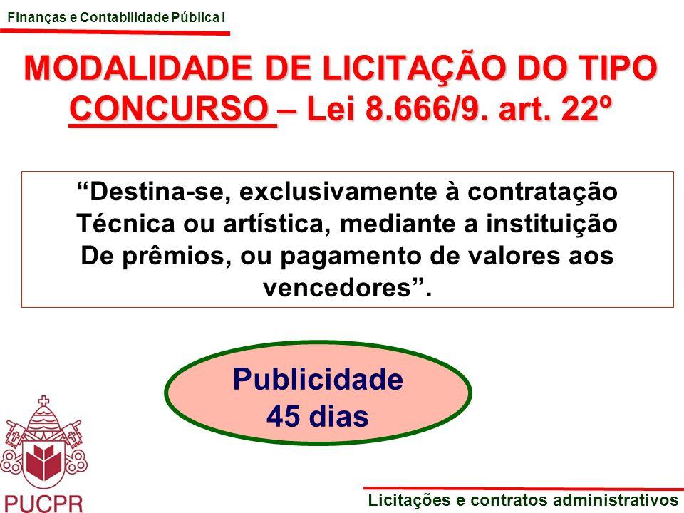 MODALIDADE DE LICITAÇÃO DO TIPO CONCURSO – Lei 8.666/9. art. 22º