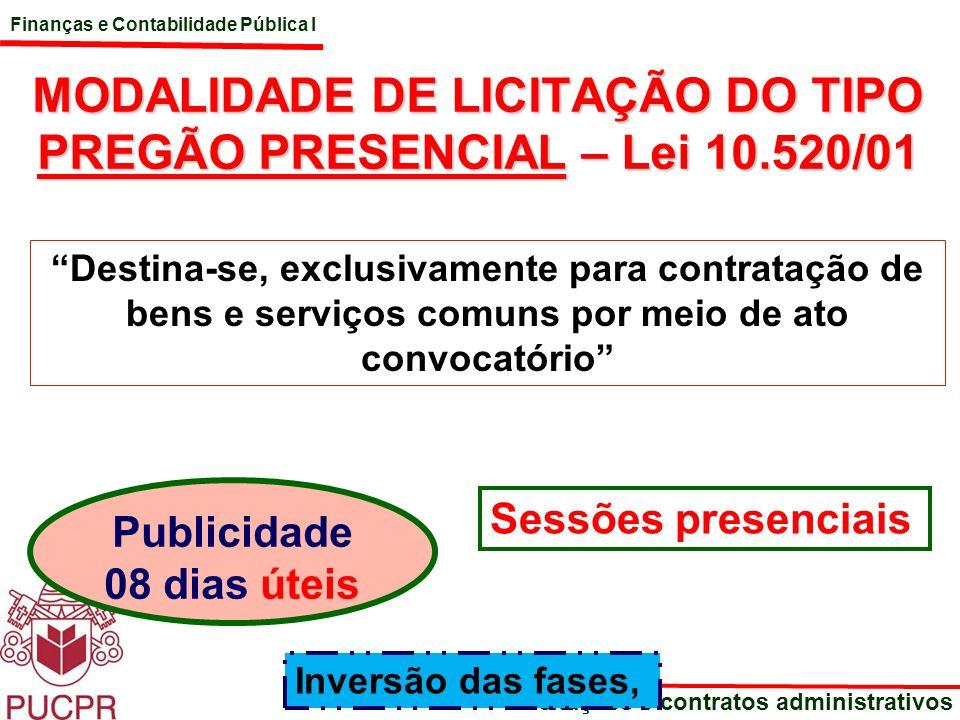 MODALIDADE DE LICITAÇÃO DO TIPO PREGÃO PRESENCIAL – Lei 10.520/01