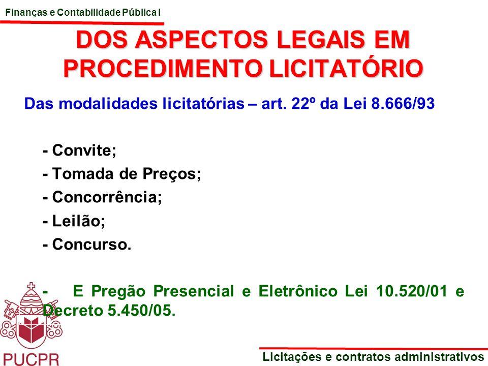 DOS ASPECTOS LEGAIS EM PROCEDIMENTO LICITATÓRIO