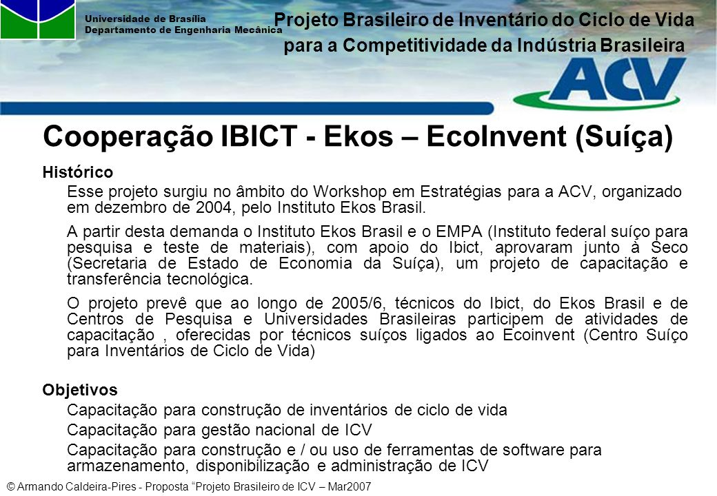 Cooperação IBICT - Ekos – EcoInvent (Suíça)