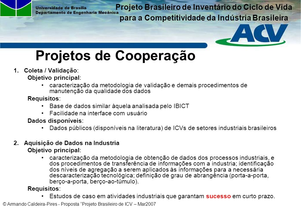 Projetos de Cooperação