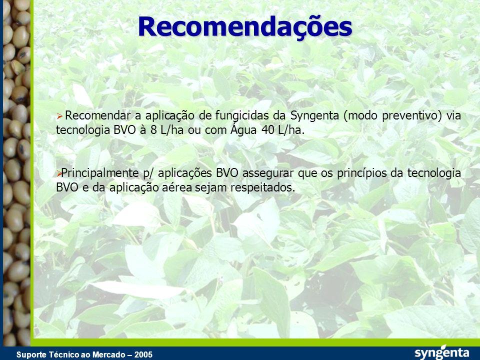 RecomendaçõesRecomendar a aplicação de fungicidas da Syngenta (modo preventivo) via tecnologia BVO à 8 L/ha ou com Água 40 L/ha.