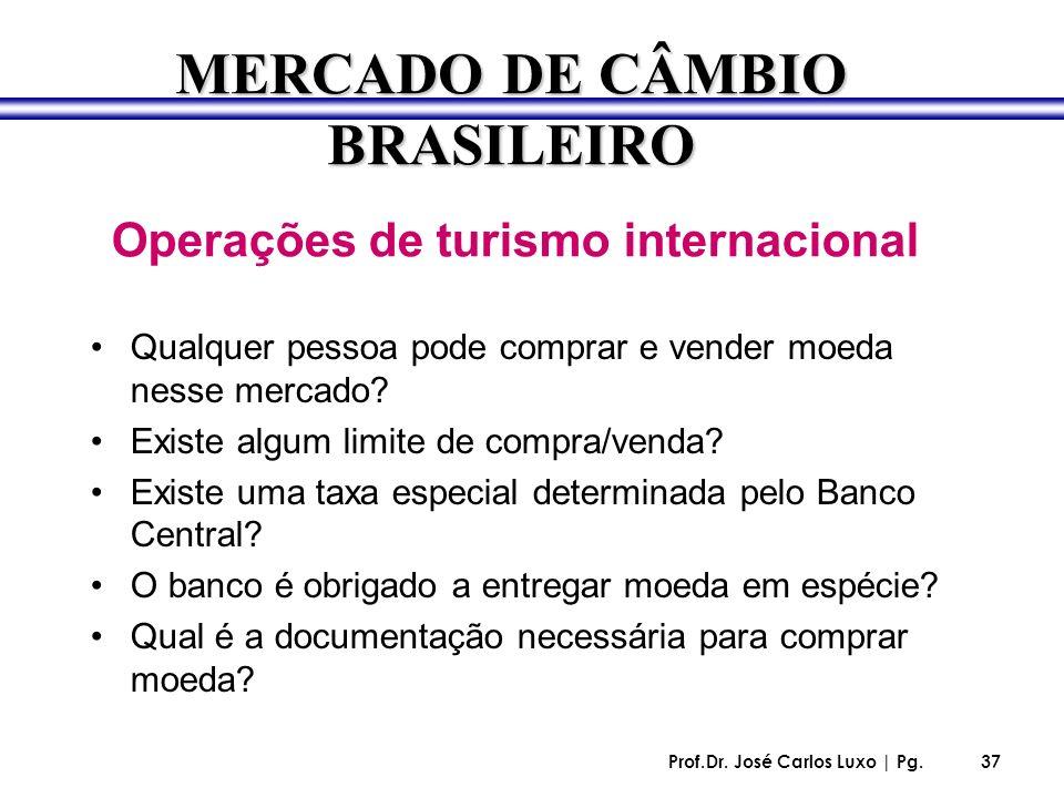 MERCADO DE CÂMBIO BRASILEIRO Operações de turismo internacional