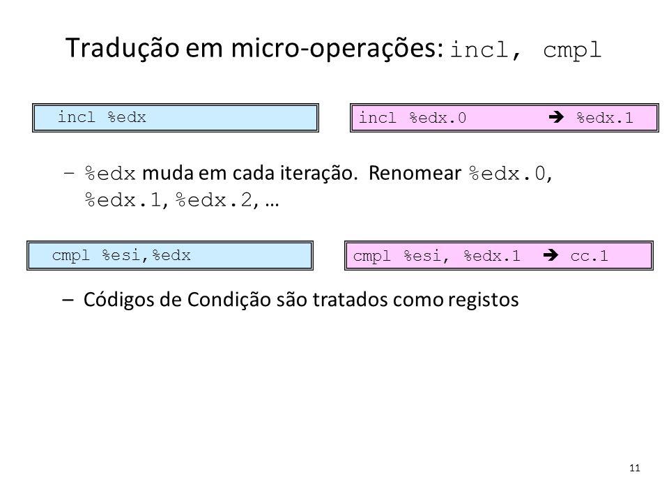 Tradução em micro-operações: incl, cmpl
