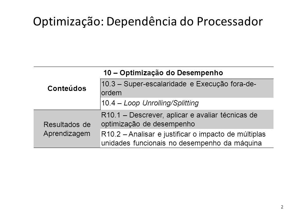 Optimização: Dependência do Processador