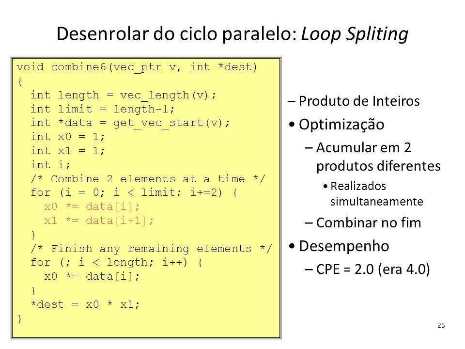 Desenrolar do ciclo paralelo: Loop Spliting