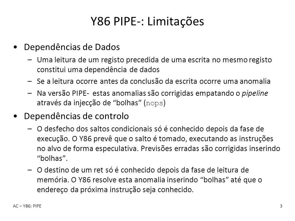 Y86 PIPE-: Limitações Dependências de Dados Dependências de controlo