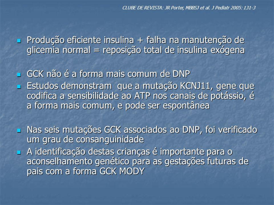 GCK não é a forma mais comum de DNP