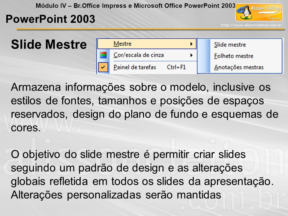 Slide Mestre PowerPoint 2003