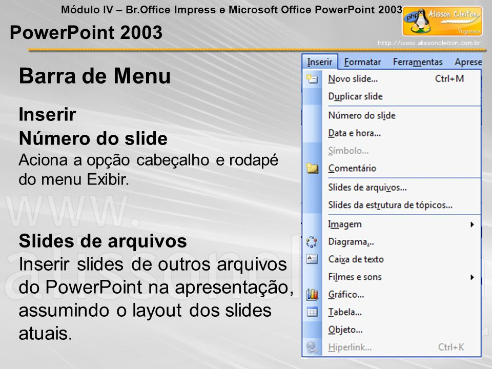 Barra de Menu PowerPoint 2003 Inserir Número do slide