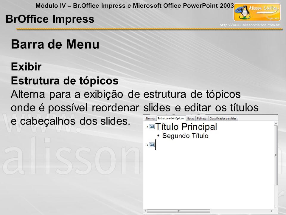 Barra de Menu BrOffice Impress Exibir Estrutura de tópicos