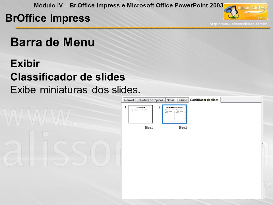 Barra de Menu BrOffice Impress Exibir Classificador de slides