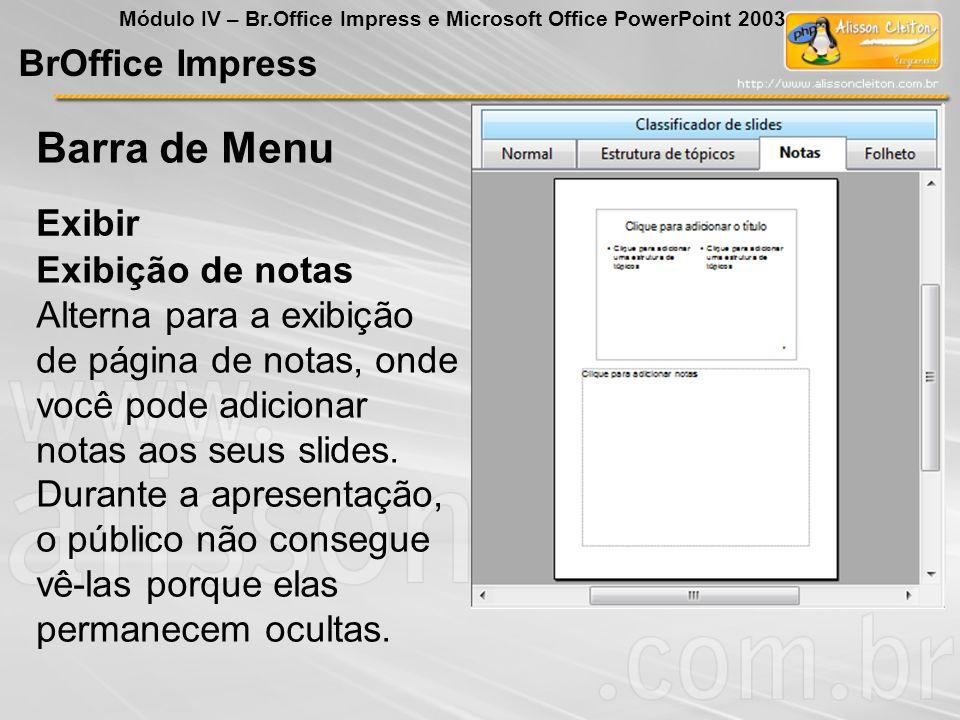 Barra de Menu BrOffice Impress Exibir Exibição de notas