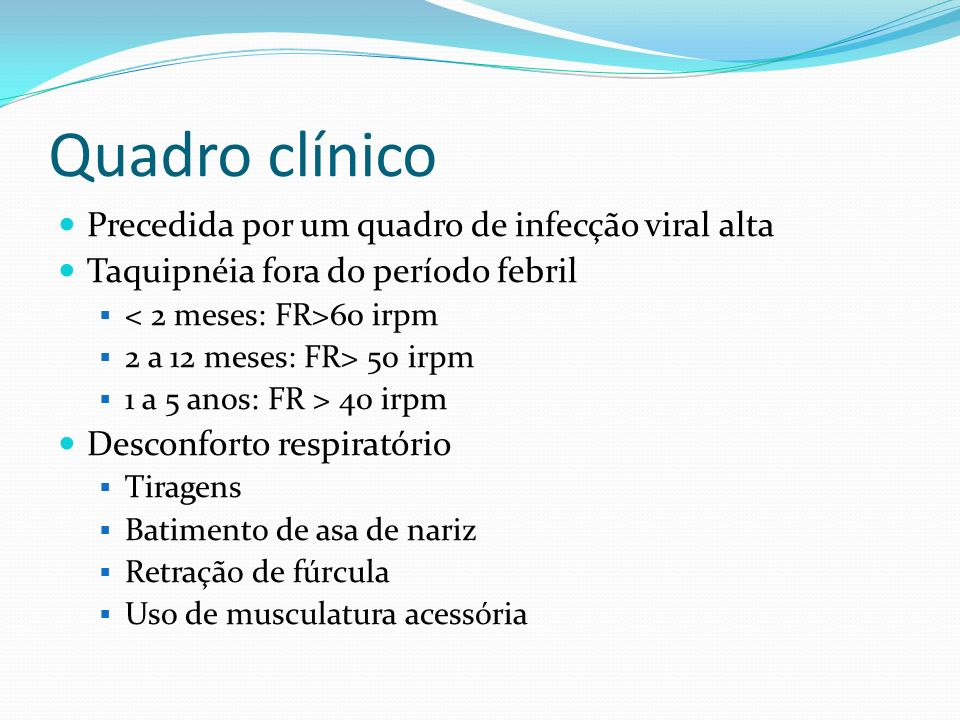 Quadro clínico Precedida por um quadro de infecção viral alta