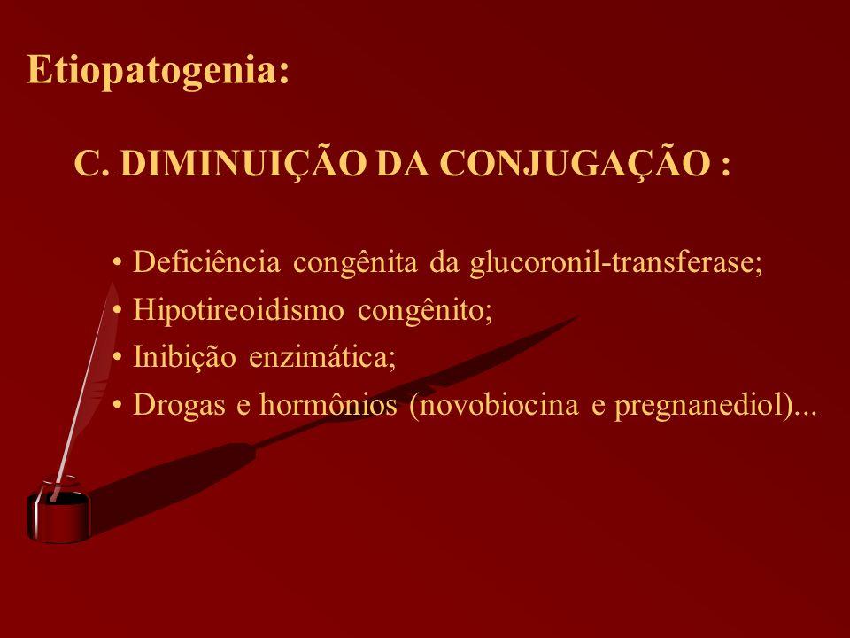 Etiopatogenia: C. DIMINUIÇÃO DA CONJUGAÇÃO :