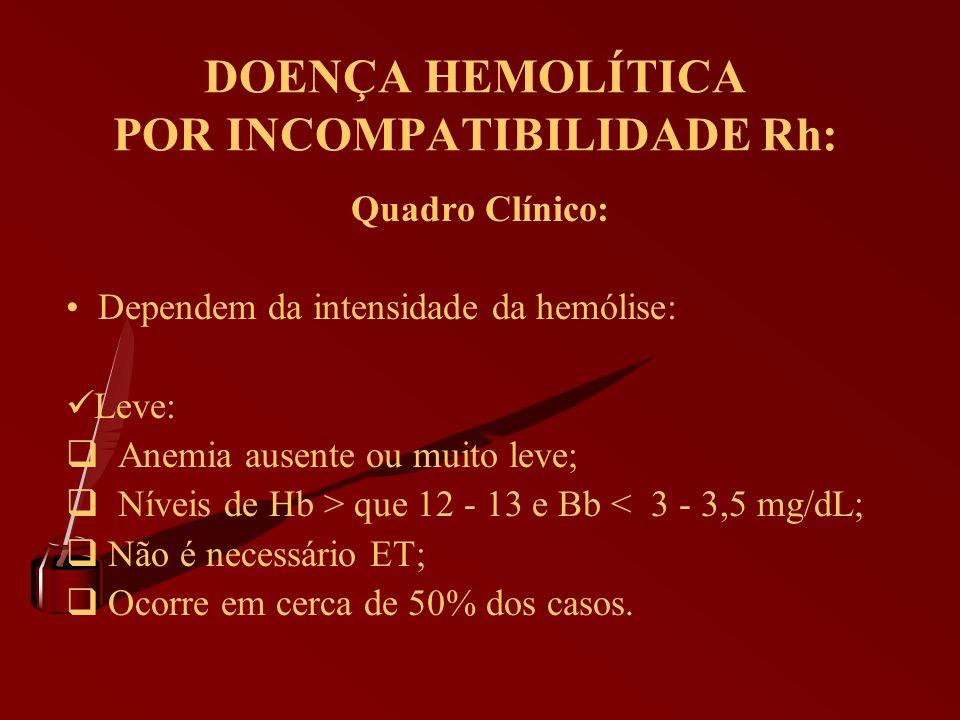 DOENÇA HEMOLÍTICA POR INCOMPATIBILIDADE Rh: