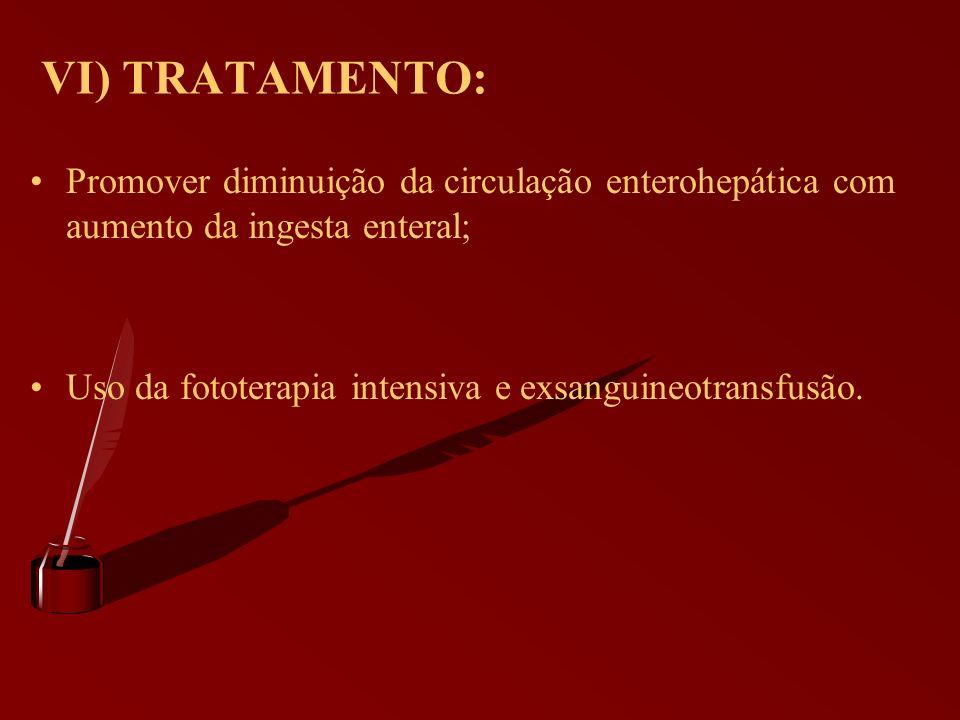 VI) TRATAMENTO: Promover diminuição da circulação enterohepática com aumento da ingesta enteral;