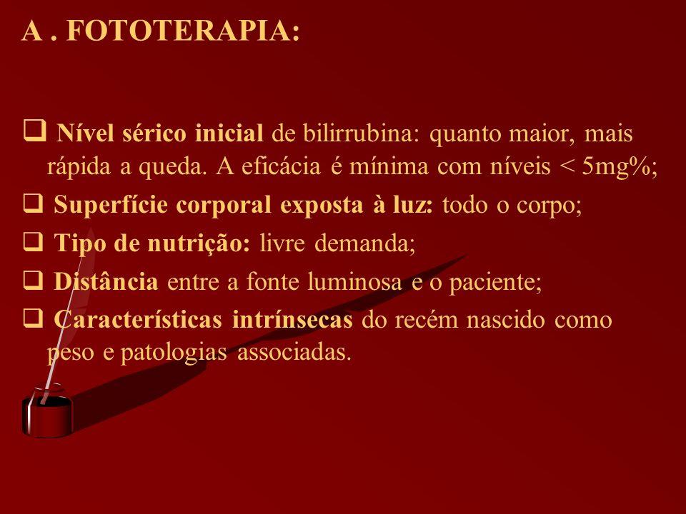 A . FOTOTERAPIA: Nível sérico inicial de bilirrubina: quanto maior, mais rápida a queda. A eficácia é mínima com níveis < 5mg%;
