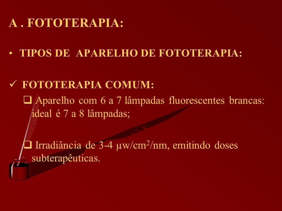 A . FOTOTERAPIA: TIPOS DE APARELHO DE FOTOTERAPIA: FOTOTERAPIA COMUM: